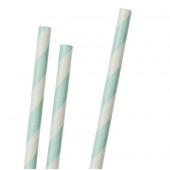 Papirsugerør - lysegrønne striber - 30 stk