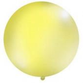Stor ensfarvet ballon - 1m - pastel gul