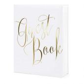 Hvid gæstebog med guld tekst Guest book