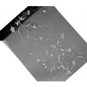 Sort organza bordløber med sølv motiv - 36cm x 9m