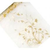 Organza bordløber - cream - 36cm x 9m