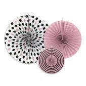Papir rosetter - pink, sort og hvide farver