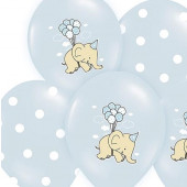 Blå balloner med elefant og prikker