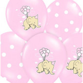 Balloner i pink med elefant og prikker