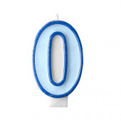 Fødselsdagslys - blå - tal 0