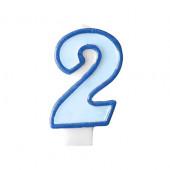 Fødselsdagslys - blå - tal 2