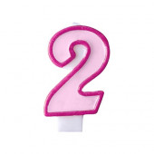 Fødselsdagslys - pink - tal 2