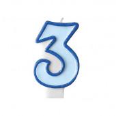 Fødselsdagslys - blå - tal 3