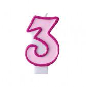 Fødselsdagslys - pink - tal 3
