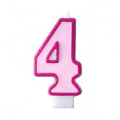Fødselsdagslys - pink - tal 4