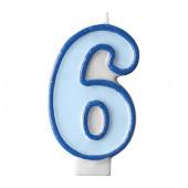 Fødselsdagslys - blå - tal 6