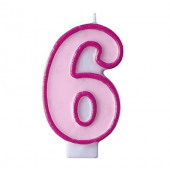 Fødselsdagslys - pink - tal 6