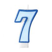 Fødselsdagslys - blå - tal 7