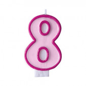 Fødselsdagslys - pink - tal 8