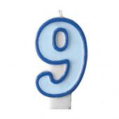 Fødselsdagslys - blå - tal 9