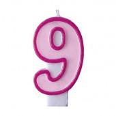Fødselsdagslys - pink - tal 9