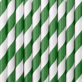 Papirsugerør - hvide med grønne striber - 10 stk