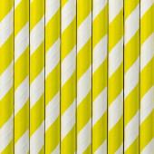 Papirsugerør - hvide med gule striber - 10 stk