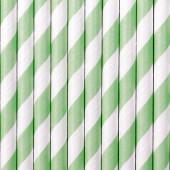 Papirsugerør - hvide med mint striber - 10 stk