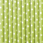 Papirsugerør - grønne med hvide prikker - 10 stk