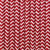 Papirsugerør - hvide med røde zig zag - 10 stk