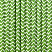 Papirsugerør - hvide med grøn zig zag - 10 stk