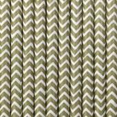Papirsugerør - hvide med guld zig zag - 10 stk