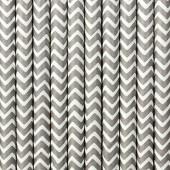 Papirsugerør - hvide med grå zig zag - 10 stk