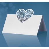 Bordkort hjerte - hvide