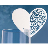 Hvide hjerte bordkort til glas