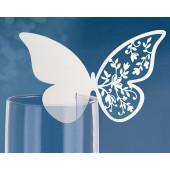 Hvid sommerfugl bordkort til glas