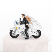 Bryllupsfigur med brudepar på motorcykel