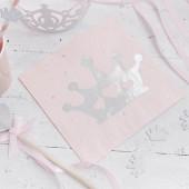 Prinsesse servietter - pink og sølv