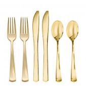 Premium plastik bestik i guld