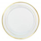 Hvide premium plastik tallerkner med guld kant