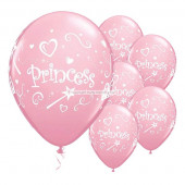 Pink prinsesse balloner med hvidt tryk