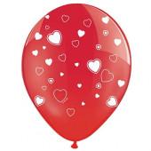 Røde balloner med hvide hjerter