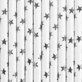 Papirsugerør hvide med sølv stjerner