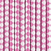 Papirsugerør pink med hvidt diamantmønster