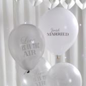 Vintage balloner til bryllup i sølv og hvid